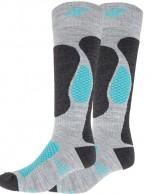 4F Ski Socks, billige skistrømper til damer, 2-par, grå/turkis