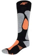 4F Ski Socks, skistrømper til damer, billige, sort/orange
