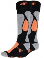 4F Ski Socks, billige skistrømper til damer, 2-par, sort/orange