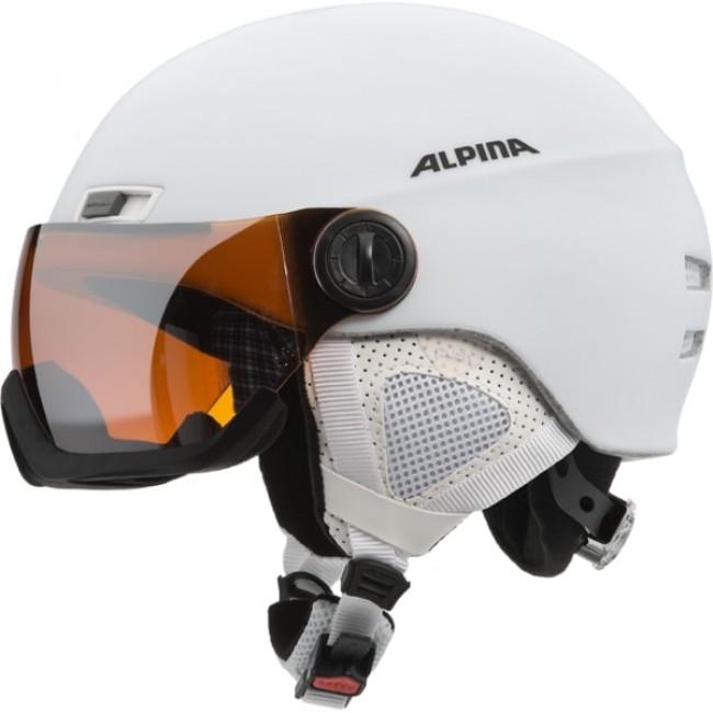God letvægtshjelm til alle, der bærer briller og dermed ofte har svært ved at finde skibriller der sidde godt og komfortabelt over brillerne. Perfekt styling og detaljer i høj kvalitet er kendetegnene ved Alpina Menga JV hjelmen. Visiret kan bevæges trinløst op og ned, for at opnå et perfekt udsyn.Det coatede gul/orange (Goldlight Mirror) farvede visir sikrer dig beskyttelse mod vind vejr, og forbedrer dit udsyn med en markant forbedret kontrast under alle lysforhold, og fjerner reflekser og genskin. Erstatter fuldt ud et par skigoggles under langt de fleste vejrforhold. Dette gennemtænkte koncept kombinerer to af de vigtigste beskyttelseselementer i kun ét produkt. En fornuftig nyhed, der er nem at anvende.Egenskaber:Inmould Technology (Ekstrem stærk hjelmkonstruktion, med optimal ventilation)Ergomatic Closure (Lukkemekaniske der kan betjenes og justeres med een hånd) RUN justering, der sikrer optimal pasform.Aftagelige øreklapperAftageligt for, der kan vaskes Justerbar ventilation Sp