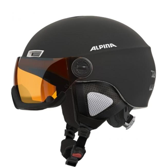 Alpina Menga JV Ski Helmet With Visor Matt Black Skiwearucom - Alpina ski shop