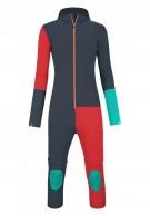 Ortovox Merino RockNWool Overall W, heldragt, blå/rød