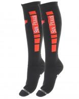 Sun Peaks Moby, billige skistrømper, grå/rød, 2-par