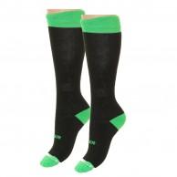Hulabalu Solid, skistrømper til børn, 2-pak, sort/neon