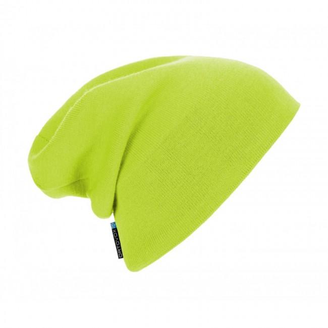 Afslappet strikhue i merinould der sikrer, at huen ikke kradser, samtidigt med at den holder dig varm.