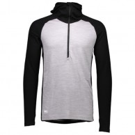 Mons Royale Checklist Hood LS, skiundertrøje, Black Grey Marl