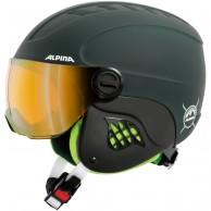 Alpina Carat LE Visor HM, junior skihjelm med visir, mat grøn