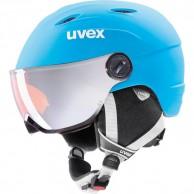 Uvex junior pro, skihjelm med visir, mat blå