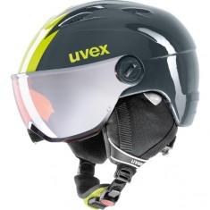 Uvex junior pro, skihjelm med visir, titanium lime