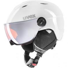 Uvex junior pro, skihjelm med visir, hvid/grå