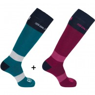Salomon All Round ski sock, 2 par, blå/rød