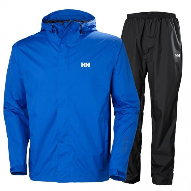 Dette blå Helly Hansen Portland sæt er et vind- og vandtæt regnsæt til mænd med en rigtig god ånd-barhed, hvilket gør, at du holdes tør og varm på kroppen. Sættet er tyndt og let, hvilket giver god bevægelsesfrihed, men er samtidigt super stærkt. Vind- og vandtæt regntøj i lækre åndbare materialer.Jakken har en hellang lynlås med beskyttelsesflap, en justerbar hætte, justerbare manchetter og to lommer med lynlås lukning. Jakken kan desuden justeres forneden med snørrer.Bukserne har elastik i taljen og kan desuden justeres i livvidden med snørrer og buksebenene kan justeres for neden med velcro. Netforet i bukserne øger ventilationen yderligere, så det altid er behageligt at have bukserne på.Sættet er fremstillet i microlignende materiale som giver en rigtig god bevægelsesfrihed samtidig med at regnsættet hurtigt tørrer. Alle syninger og sømme er tapede, hvilket tillige sikre at du forbliver tør. Funktioner :Vandtæthed 10.000 mm (vandsøjletryk)Åndbarhed 10.000 g/m2 24 timerHelly Tech® m