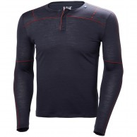 Helly Hansen Merino Light Button LS, herre, mørkeblå