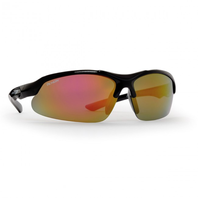 Gode og smarte solbriller til børn. Robust kvalitet fra Demon Occhiali. Sidder godt, takket være bl.a. bløde næsepuder og bløde ender på stængerne.Linserne yder 100% UV-beskyttelse.Linse: Smoke Red MirrorSolbriller, der også er bredt anvendelig til mange formål, ikke mindst sport.Bredde mellem stænger (se illu. under billeder): 11,5 cmBørnesolbriller i en rigtig god kvalitet, sammenholdt med prisen.