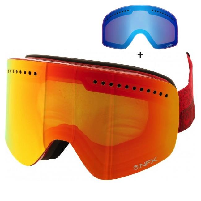 NFX er Dragons største goggle med cylindriske linser, hvilket betyder uovertruffet perifert udsyn i alle retninger. Det minimalistiske rammeløse design er stilet, og fittet er komfortabelt. Armored Venting holder sne ude af ventilationskanalerne, tre lag skum med microfleece lining giver behageligt fit på ansigtet og silikone på stroppen holder brillen på plads. Brillen er naturligvis hjelmkompatibel.Brillen kommer med en Blue Steel linse til solskinsvejr og en Yellow Red Ion linse til snevejr - så er du dækket ind. De store cylindriske linser sikrer maksimalt udsyn i alle retninger. Linserne er 100% UV-beskyttende og belagt med anti-fog coating på indersiden, så brillen aldrig dugger til.