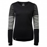 Mons Royale Original LS, skiundertrøje, dame, black/thick stribe
