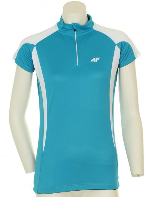4F Thermodry cykeltrøje i turkis til kvinder er særdeles funktionelle og velsiddende. Det er let cykel t-shirt i klassisk design med en tætsiddende pasform, god komfort og god elasticitet.Denne trøje er med kort lynlås i halsen og silikonekant nederst på trøjen, hvilket forhindre trøjen i at glide op. T-shirten har reflekterende logo både foran og bagpå og er med korte ærmer. Bagpå er der 3 åbne lommer.Det meget svedtransporterende og hurtig tørrende Thermodry materiale som denne cykel trøje er lavet af sikrer høj komfort og stor bevægelsesfrihed, selv under stor fysisk aktivitet.Thermodry: Svedtransporterende polysester som hjælper med at holde kroppens temperatur samtidig med at det er meget let.Det er åndbart med en konstruktion, der skal hjælpe med at fjerne sved fra kroppen så du undgår nedkøling.Materialer: 100% Polyester