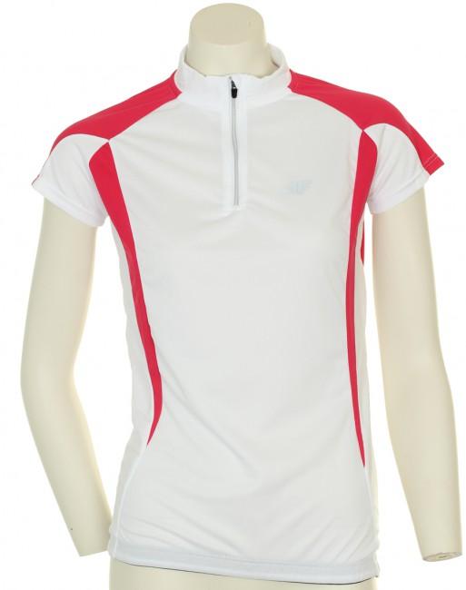 4F Thermodry cykeltrøje i hvid til kvinder er særdeles funktionelle og velsiddende. Det er let cykel t-shirt i klassisk design med en tætsiddende pasform, god komfort og god elasticitet.Denne trøje er med kort lynlås i halsen og silikonekant nederst på trøjen, hvilket forhindre trøjen i at glide op. t-shirten har reflekterende logo både foran og bagpå. Bagpå er der 3 åbne lommer.Det meget svedtransporterende og hurtig tørrende Thermodry materiale som denne cykel trøje er lavet af sikrer høj komfort og stor bevægelsesfrihed, selv under stor fysisk aktivitet.Thermodry: Svedtransporterende polysester som hjælper med at holde kroppens temperatur samtidig med at det er meget let.Det er åndbart med en konstruktion, der skal hjælpe med at fjerne sved fra kroppen så du undgår nedkøling.Materialer: 100% Polyester