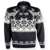 Kama Norsk striksweater m. Windstopper, sort