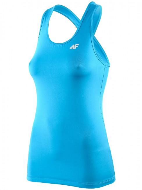 Denne turkise 4F Thermoactive fitness trøje til kvinder er særdeles funktionel og velsiddende. Det er en let t-shirt uden ærmer men med krydsede stropper. Trøjen er i et smart design med en tætsiddende pasform, god komfort og god elasticitet.Thermoactive sportstøj: Er fremstillet i svedtransporterende polyester som hjælper med at holde kroppens temperatur samtidig med at det er meget let. Det er åndbart med en konstruktion, der skal hjælpe med at fjerne sved fra kroppen så du undgår nedkøling.Materialer: 92% Polyester 8% Elastan