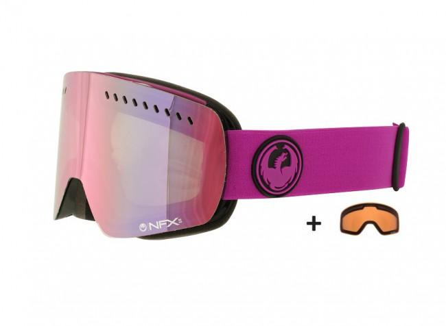 NFXs serien fra Dragon er for dig der vil have en brille et stort glas og maximalt udsyn og ikke gå på kompromis med kvaliteten. NFXs serien er en af de teknisk mest avancerede skigoggles på markedet, men med et minimalistisk design.Optisk korrekte linser giver dig 100 % perfekt syn.Med Purple Ionized linse som er en perfekt linse til solskin og klart vejr.Ekstra linse: Amber (perfekt til overskyet).- Passer til brug sammen med hjelm- 100 % beskyttelse mod farlige UV stråler- Anti dug behandlet linse- Optisk korrekte linser- Luftgennemstrømning for perfekt ventilation - Minimalistisk og rammefrit design- Medium fit