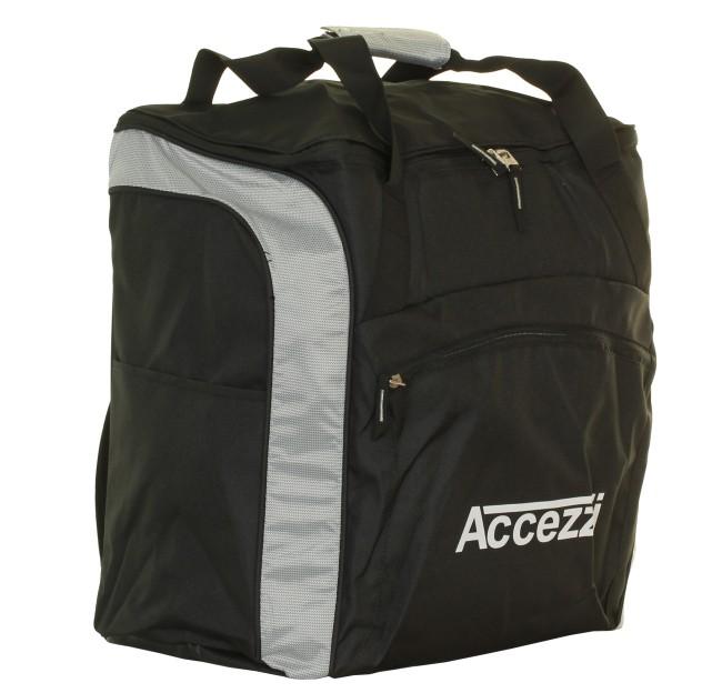 Stor taske til vintersport, med plads til skistøvler, skihjelm og andet udstyr til skituren.Materiale: 600 Poly / 210T Nylon, PU coated. Separat støvlerum, med let adgang via lynlåsåbning på siden af tasken. Vandafvisende justerbar indvendig støvletaske, som holder våde og snavsede skistøvler adskilt fra hovedrummet. Rigeligt med plads til hjelm, handsker, hue og/eller andet grej gennem lynlåsåbning i toppen. Ekstra lynlåsrum og udvendig sidelomme. Bærestroppe med polstret håndtag. Justerbare rygsækseler og foret bagpanel, gør at tasken kan bæres som rygsæk. Forstærket bund og fødder. Adresse panel.Størrelse: 44 x 41 x 24 cmVægt: 960 g.